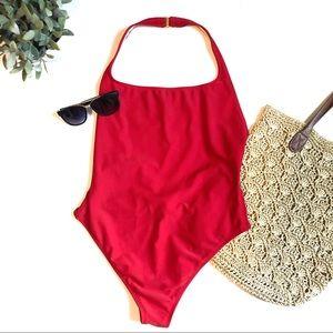 ANNE KLEIN red one piece swim suit size 12